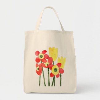Watercolor POPPIES and TULIPS jumbo canvas tote Tote Bags