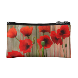 Watercolor Poppies Cosmetic Bags
