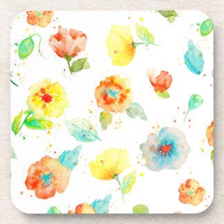 Watercolor Poppies Beverage Coaster