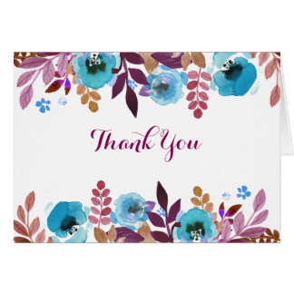 Watercolor Poppies Blue Crimson Thank You Card