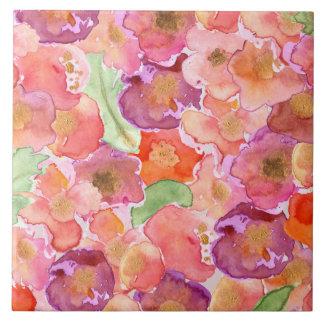Watercolor Poppies Ceramic Tile