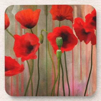 Watercolor Poppies Coasters