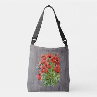 Watercolor Poppies Cross Body Bag