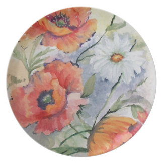 Watercolor poppies dinner plates