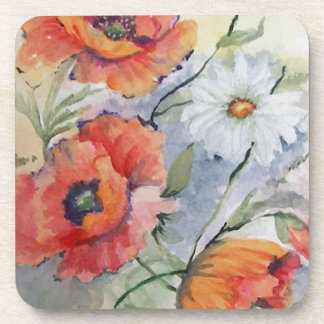 Watercolor poppies drink coaster