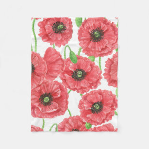Watercolor Poppies Blankets Throws Zazzle