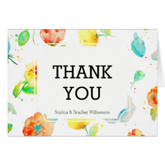 Watercolor Poppies Floral Thank you Card