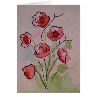 Watercolor Poppies Greeting Card, Blank Inside Card