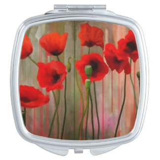 Watercolor Poppies Makeup Mirror