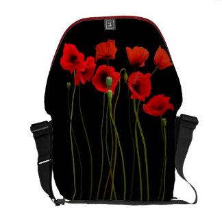 Watercolor Poppies, medium Messenger Bags