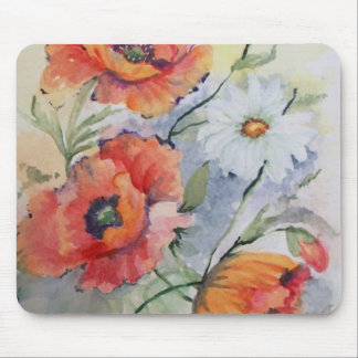 Watercolor poppies mouse pad