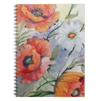 Watercolor poppies notebooks