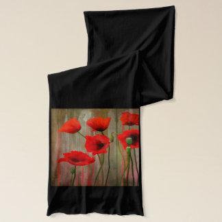 Watercolor Poppies, Papaver somniferum, Scarf