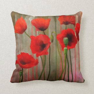 Watercolor Poppies Throw Pillows