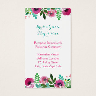 Watercolor Poppies Pink Teal Reception Card