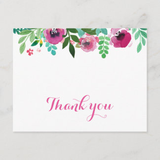 Watercolor Poppies Pink Teal Thank You Card