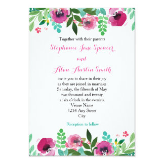 Watercolor Poppies Pink Teal Wedding Invitation