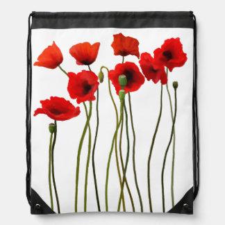 Watercolor Poppies Drawstring Backpack