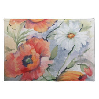 Watercolor poppies place mats