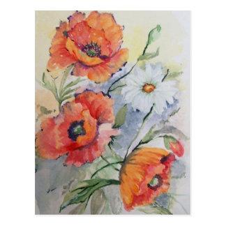 Watercolor poppies postcard