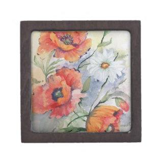 Watercolor poppies premium jewelry boxes