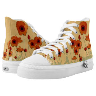 Watercolor Poppies Printed Shoes