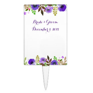 Watercolor Poppies Purple Green Cake Topper