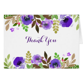 Watercolor Poppies Purple Green Thank You Card