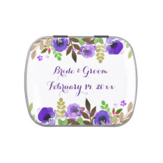 Watercolor Poppies Purple Green Wedding Candy Tins at Zazzle