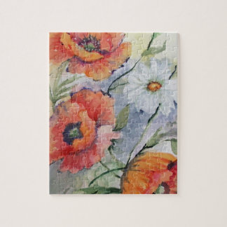 Watercolor poppies puzzles