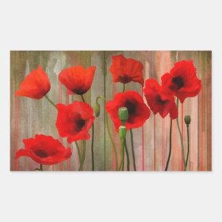 Watercolor Poppies Rectangular Sticker