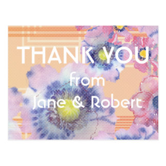 Watercolor Poppies Thank You Card - Wedding Postcard