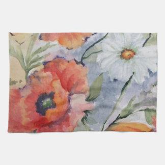 Watercolor poppies towel