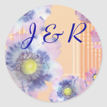 Watercolor Poppies Wedding Classic Round Sticker