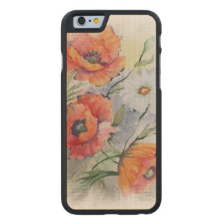 Watercolor poppies carved® maple iPhone 6 slim case