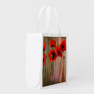 Watercolor Poppies Grocery Bags