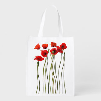 Watercolor Poppies Grocery Bag