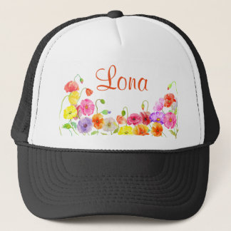 Watercolor poppy field trucker hat