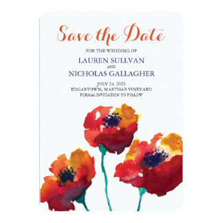 Watercolor Poppy Flowers | Save the Date 5x7 Paper Invitation Card