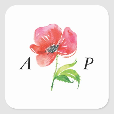 Watercolor Poppy Monogrammed Stickers