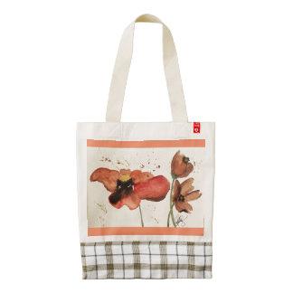 Watercolor Poppy Reusable Tote, Orange Zazzle HEART Tote Bag