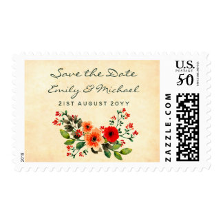 Watercolor Poppy Save the Date Postage Orange
