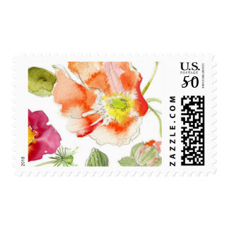 Watercolor Poppy Stamp