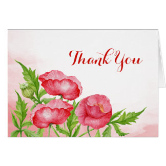 Watercolor Poppy Thank You Card