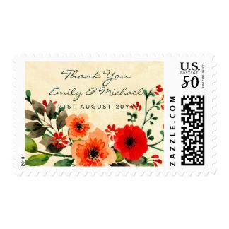Watercolor Poppy Thank You Postage Orange