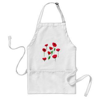 watercolor poppys adult apron