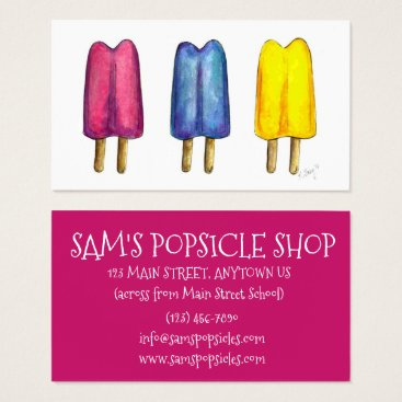 Beach Themed Watercolor Popsicle Twin Pop Popsicles Ice Lolly Business Card