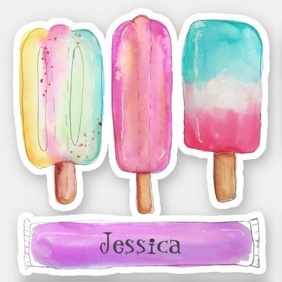 Watercolor Popsicles Ice Cream Colorful Add Name Sticker