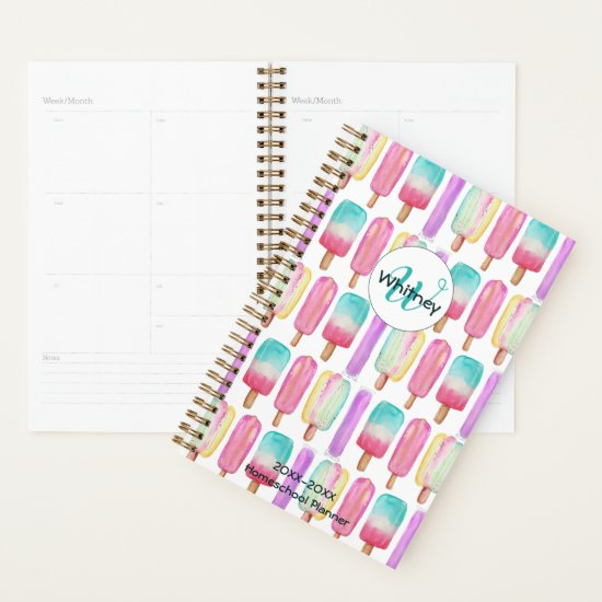 Watercolor Popsicles Ice Cream Monogram Homeschool Planner