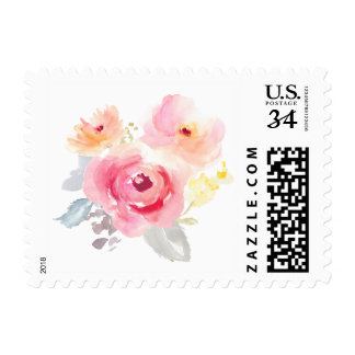 Watercolor Postage Stamp. Watercolor Flower Stamp